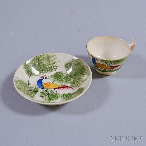 Small Green Peafowl-decorated Spatterware Cup and Saucer