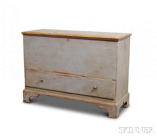 Blue-painted Pine One-drawer Blanket Chest
