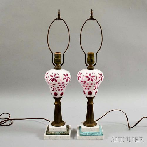 Pair of White Cut-to-pink Glass Fluid Lamps