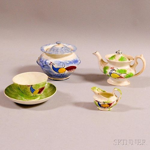 Five Pieces of Peafowl-decorated Spatterware