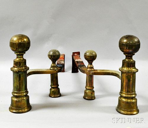 Pair of Federal Brass Ball-top Andirons