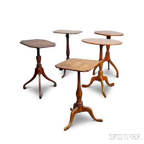 Five Chippendale and Federal Candlestands.