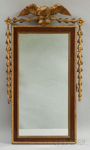 Federal Carved and Parcel-gilt Mahogany Veneer Mirror