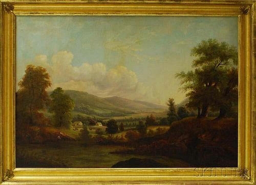 Hudson River School, 19th Century       Valley Landscape with Pond and Farm.