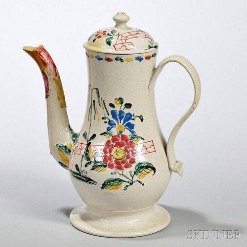 White Salt-glazed Stoneware Polychrome Enameled-decorated Coffeepot and Cover