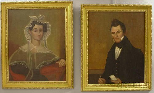 American School, 19th Century       Pair of Portraits of a Man and Wife.