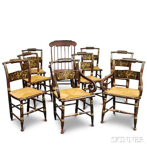 Eight Paint-decorated Hitchcock Chairs and an Armed Rocking Chair.