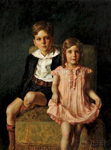 Nikol Schattenstein (Russian/American, 1877-1954)      Portrait of a Brother and Sister