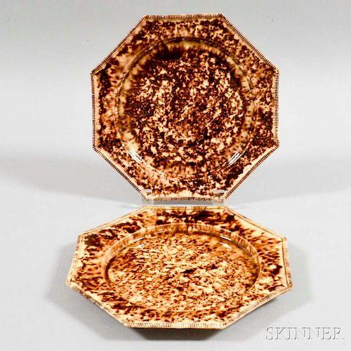 Two Octagonal Tortoiseshell-glazed Earthenware Plates