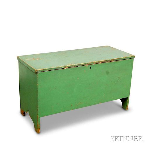 Green-painted Six-board Chest
