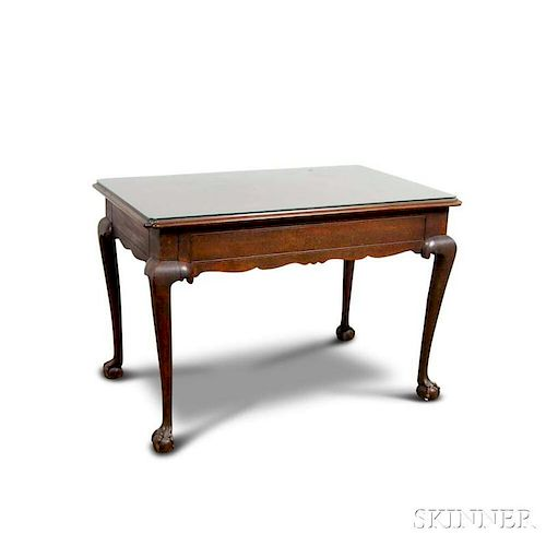 Chippendale-style Carved Mahogany One-drawer Writing Desk