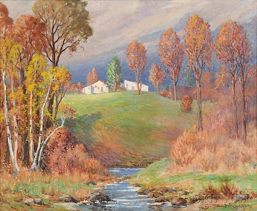 Henry Orne Rider (American, 1860-1943)      The Passing Shower Early Autumn  /An Early Auburndale Scene