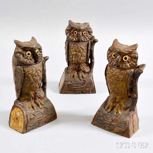 """Three J. & E. Stevens """"Owl"""" Mechanical Banks"""