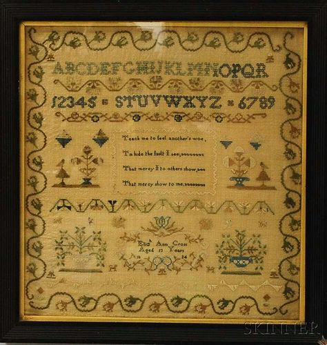 "Framed Needlework Sampler ""Elizabeth Ann Cross,"""