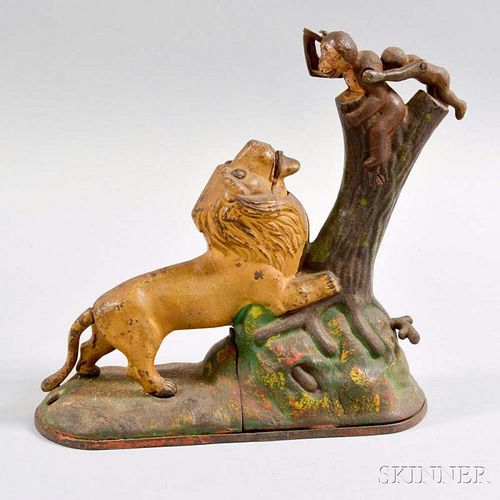 """Kyser & Rex """"Lion and Two Monkeys"""" Mechanical Bank"""