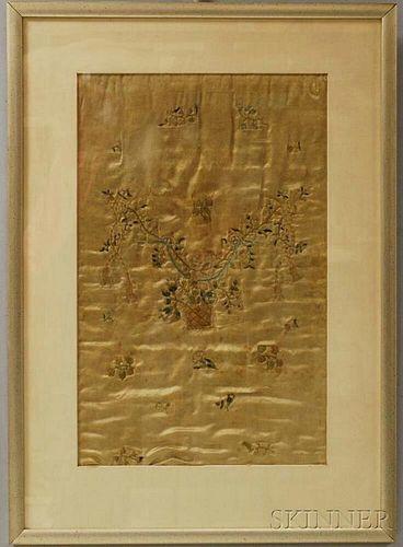 Framed Floral-embroidered Silk Wedding Muff