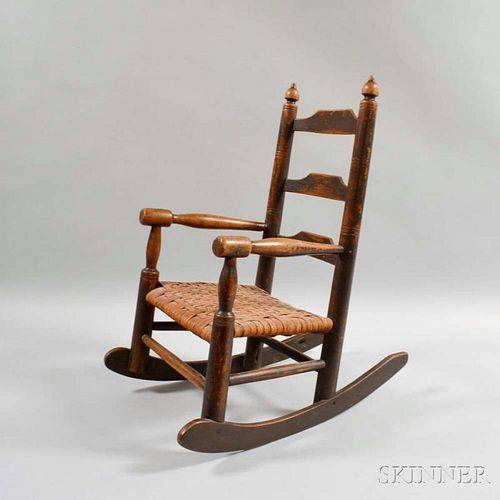 Brown-painted Maple and Pine Child's Armed Rocking Chair