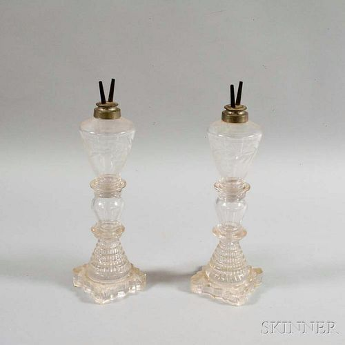Pair of Colorless Etched Glass Fluid Lamps