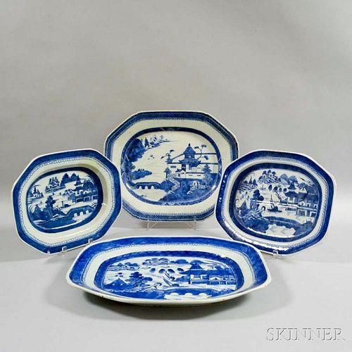 Four Large Canton Porcelain Platters