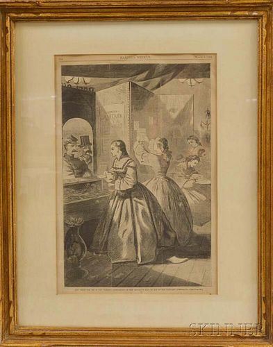 Framed Winslow Homer Engraving from Harper's Weekly.