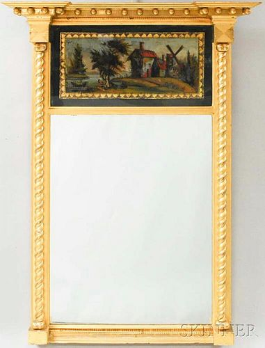 Federal Gilt Tabernacle Mirror with Reverse-painted Panel