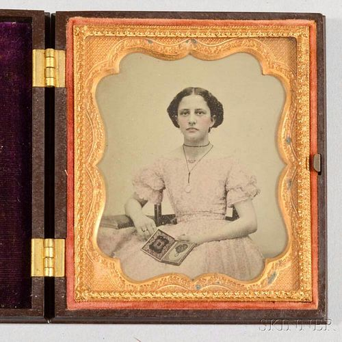 Sixth-plate Ambrotype of a Woman Holding a Daguerreotype