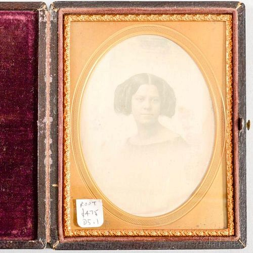 Cased Root Gallery Quarter-plate Daguerreotype of a Young Woman.