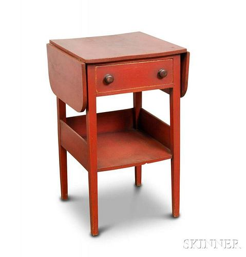 Red-painted Pine One-drawer Drop-leaf Worktable
