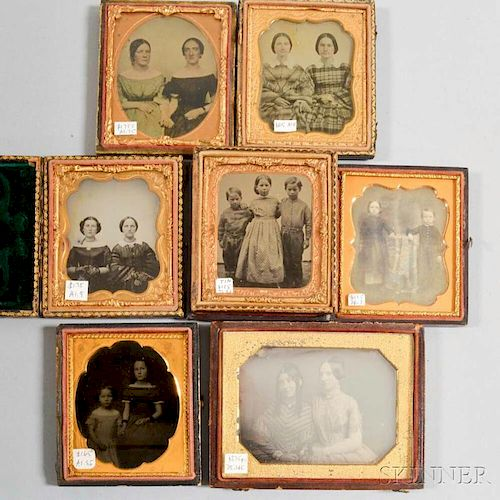 Seven Daguerreotypes, Ambrotypes, and Tintypes of Siblings