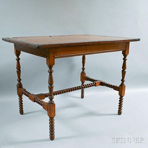Country Spool-turned Maple Tavern Table with Breadboard Top