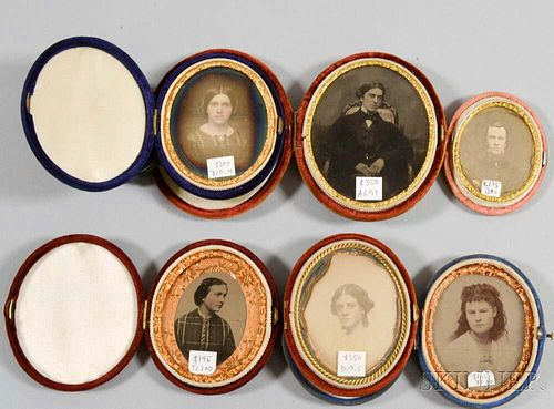 Three Cased Oval Daguerreotypes, Two Ambrotypes, and a Tintype.