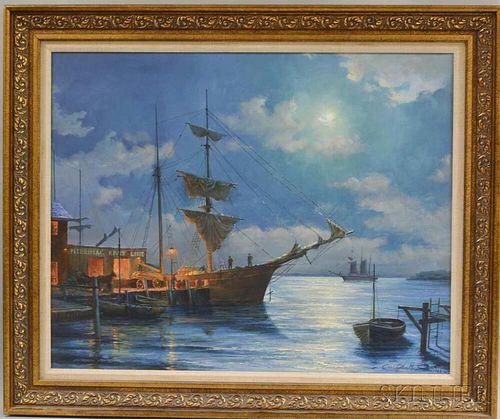 Christopher Scali (American, 20th Century)       Nighttime Harbor Scene.