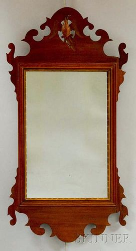 Chippendale-style Carved Mahogany Scroll-frame Mirror
