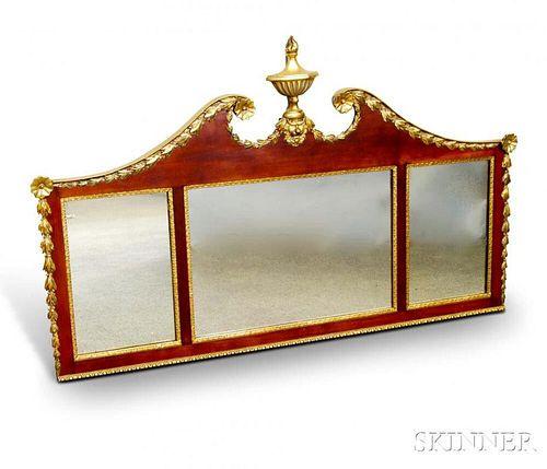 Neoclassical-style Parcel-gilt Mahogany Veneer Tripartite Mirror