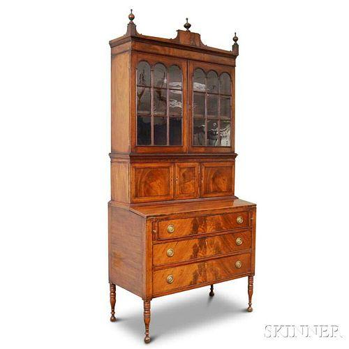 Federal-style Inlaid Mahogany Desk/Bookcase