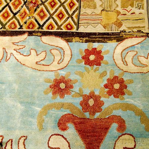 Three Hooked Rugs and a Coverlet
