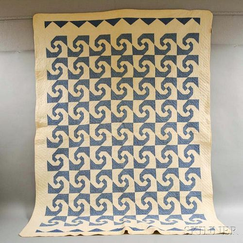 Pieced Cotton Blue and White Geometric Quilt