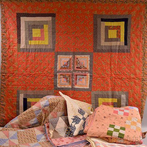 Six Appliqued Cotton Quilts