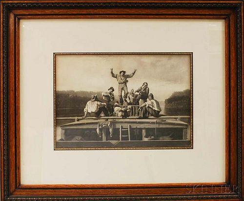Framed The Jolly Flat Boat Men   Print After George Caleb Bingham