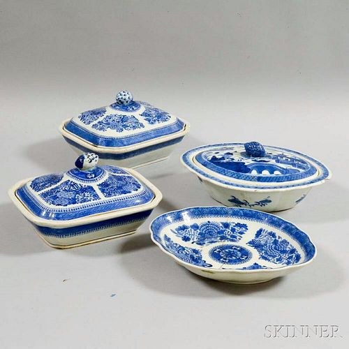 Two Export Porcelain Fitzhugh Covered Vegetable Dishes and Two Canton Items