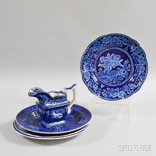 Five Staffordshire Blue Transfer-decorated Items