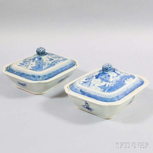 Two Canton Porcelain Covered Vegetable Dishes