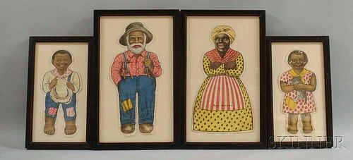 Four Framed Black Cloth Doll Cutouts