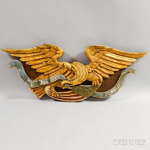 Carved and Painted Patriotic Eagle Plaque