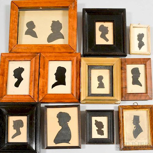Eleven Framed Cut and Watercolor Silhouettes