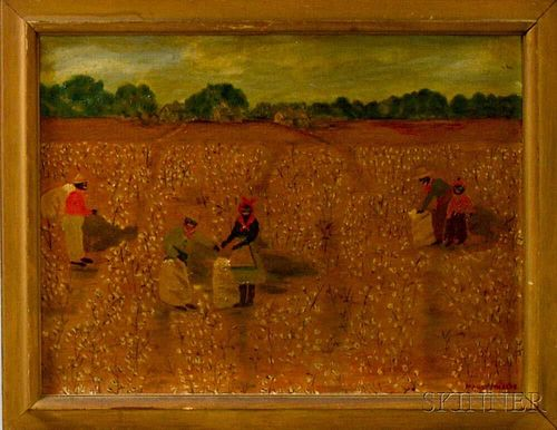 Maude Warren Phelps (American, 20th Century)       Figural Scene of Cotton Pickers.