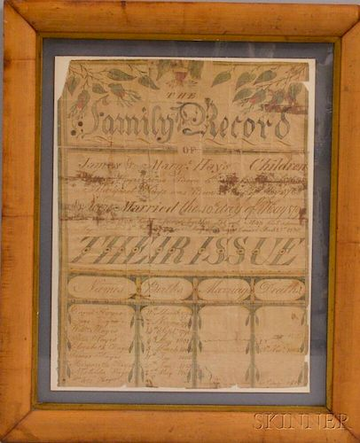 Framed Watercolor Family Record for James and Margaret Hays