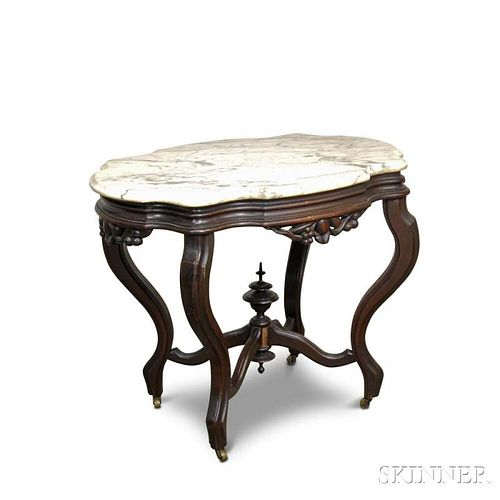 Rococo Revival Carved Walnut Shaped Marble-top Table