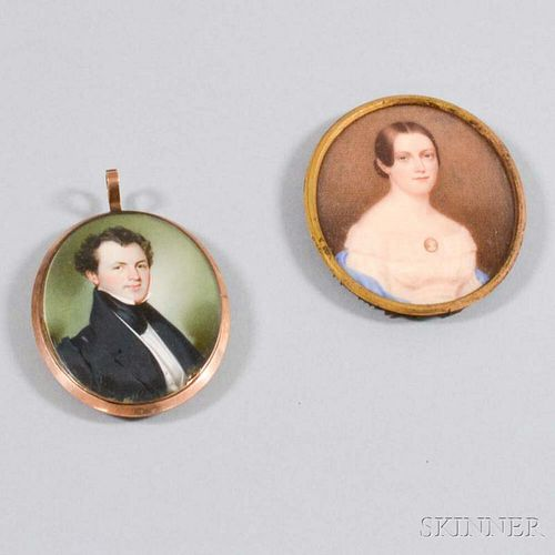 Two Framed Portrait Miniatures