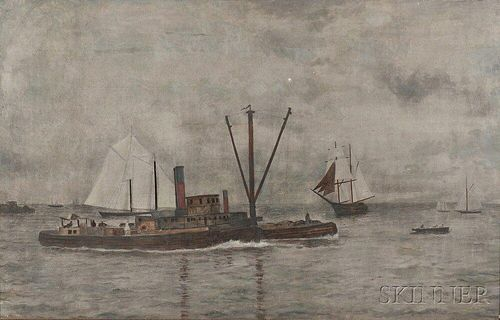 Possibly the Work of William Bradford (American, 1823-1892)    Tugboat